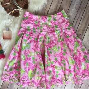 Lilly Pulitzer pink and green eyelet skirt